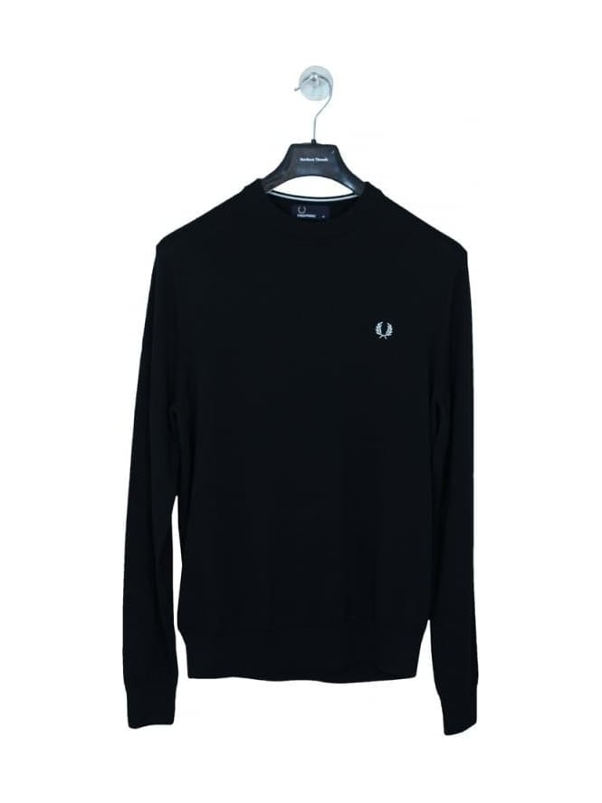 Fred Perry Classic Cotton Crew Neck Knit - Black