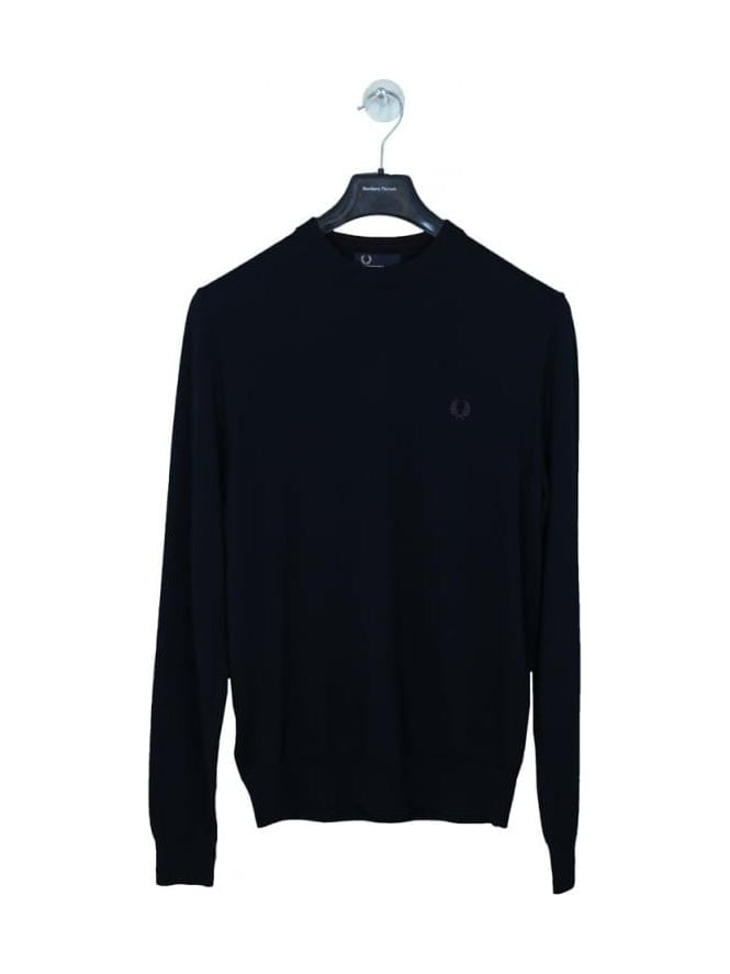 Fred Perry Classic Cotton Crew Neck Knit - Navy