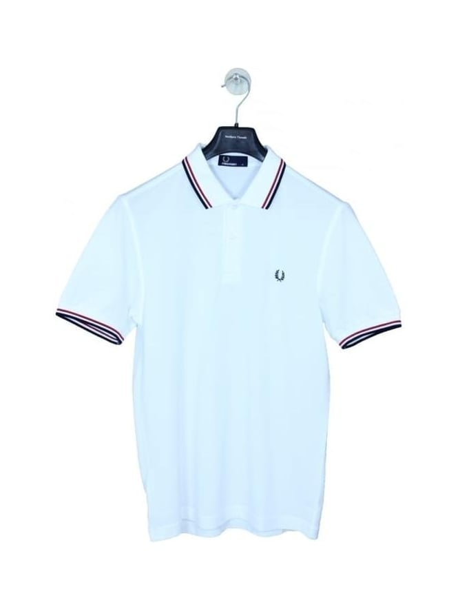 Fred Perry Classic Twin Tipped Polo - White/Red/Navy
