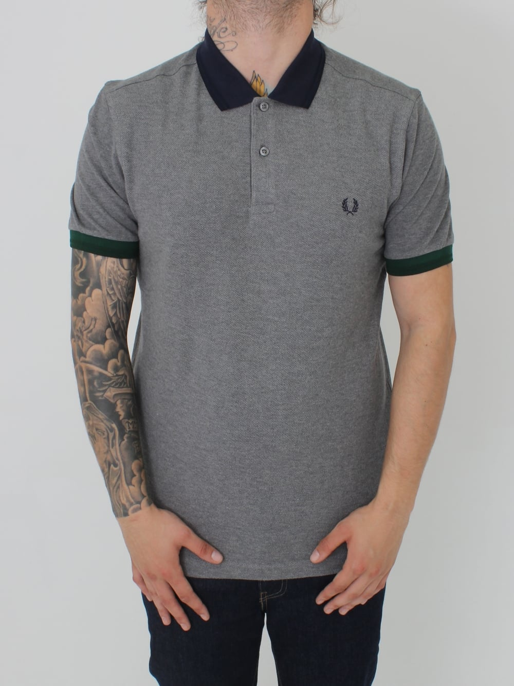 904d85e0f Fred Perry Colour Block Pique Polo in Grey Marle - Northern Threads