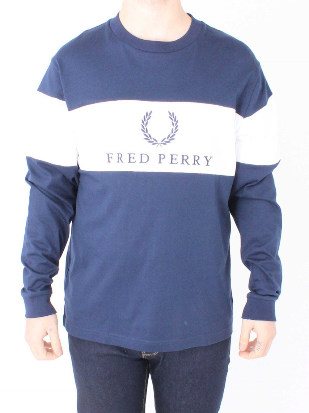f0cefa82 Fred Perry Sports Contrast Panel T.Shirt in Navy/White | Northern ...
