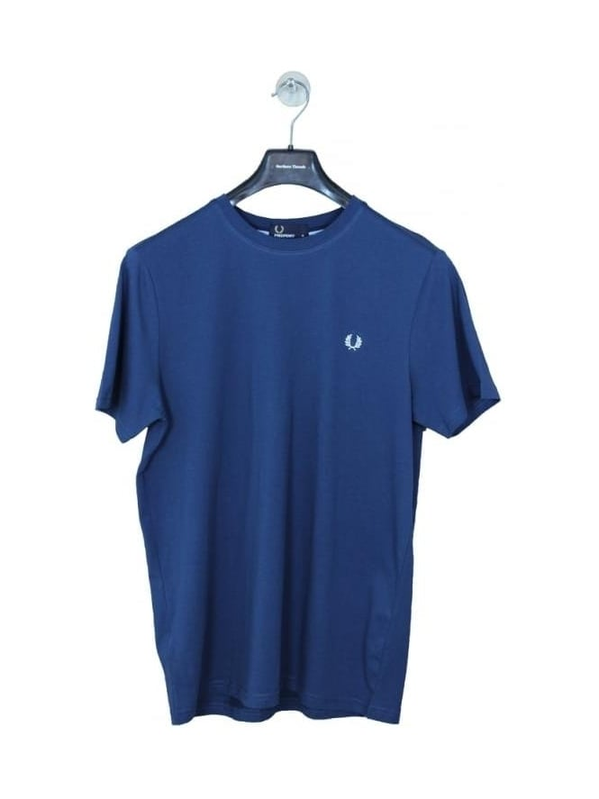 Fred Perry Crew Neck Logo T Shirt - Service Blue