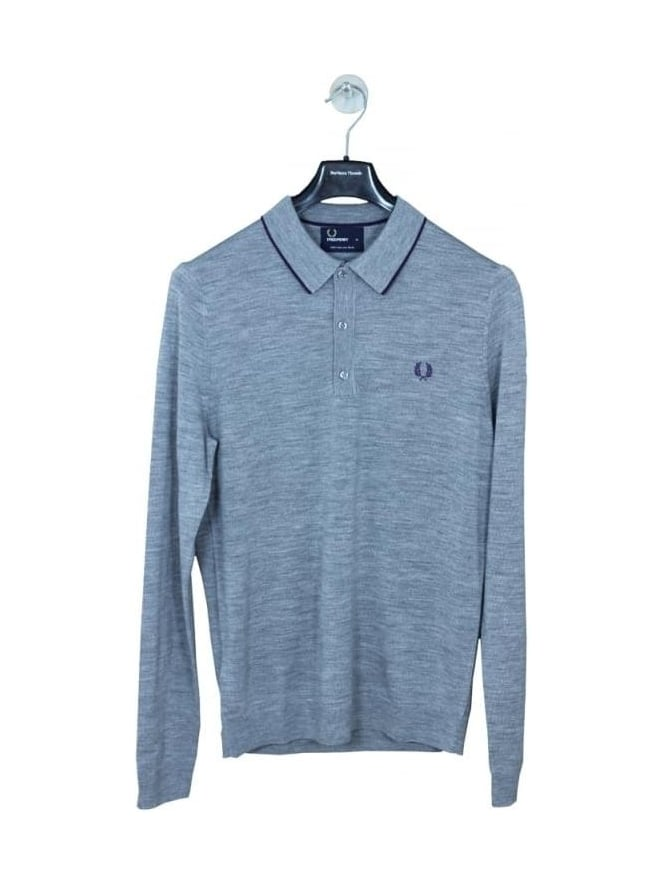 Fred Perry Fine Merino Knitted Polo - Steel Marl