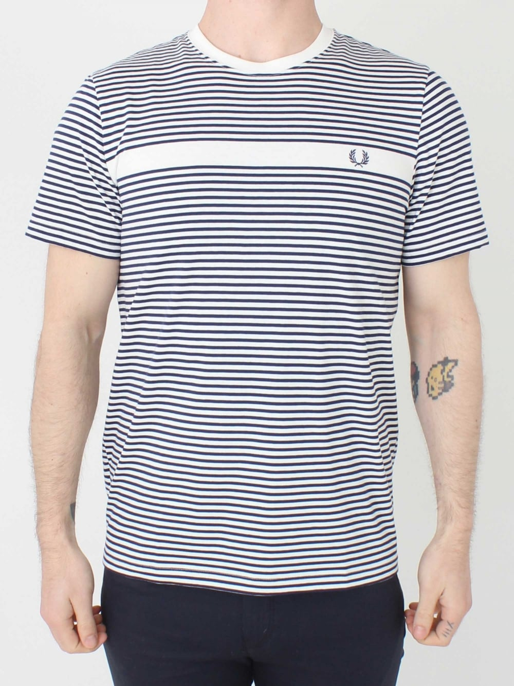 2762dcbb9 Fred Perry Fine Strip T-Shirt in Snow White