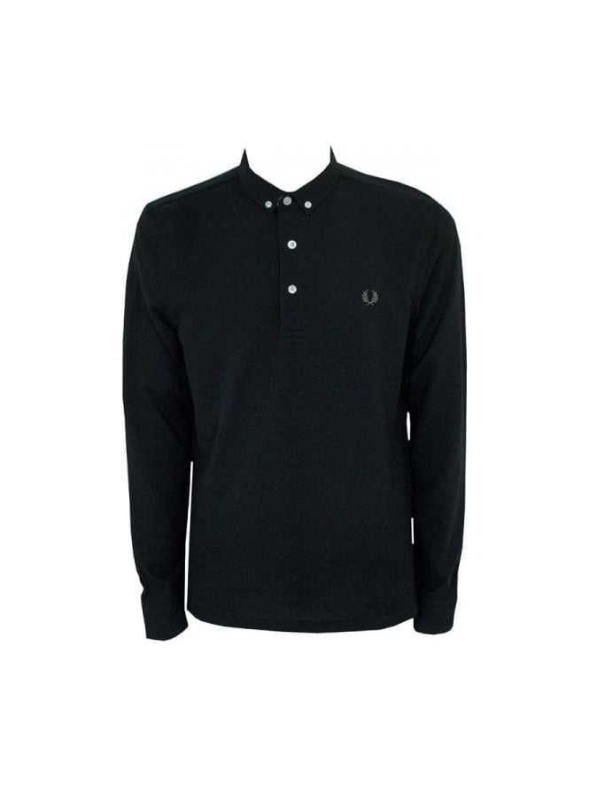 dc733b86 Fred Perry - Fred Perry LS Button Down Pique Polo - Black - Mens ...