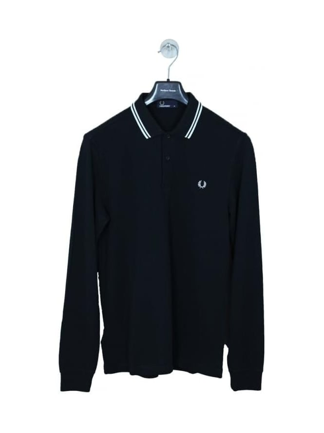 Fred Perry Long Sleeve Twin Tipped Polo - Black/Porcelain