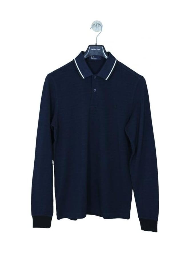 Fred Perry Long Sleeve Twin Tipped Polo - Service Blue