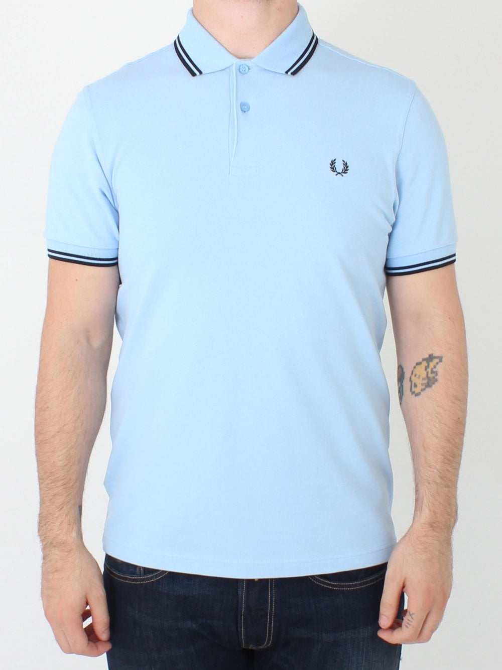 ef853011 Fred Perry M3600 Twin Tipped Classic Polo in Sky Blue/Black ...