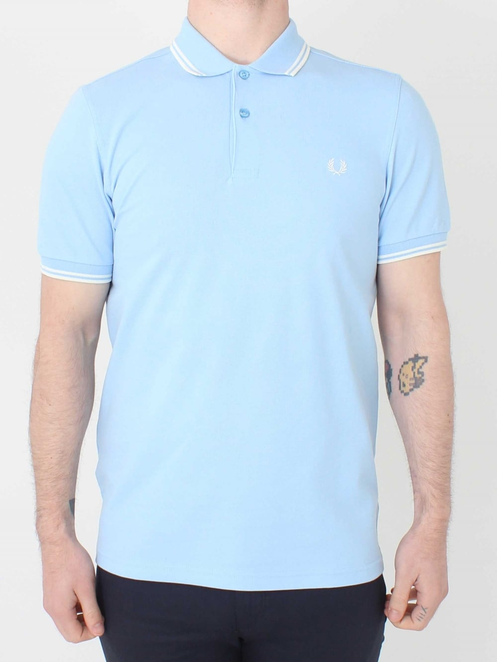 7f8a83457 Fred Perry M3600 Twin Tipped Polo in Sky Blue | Northern Threads