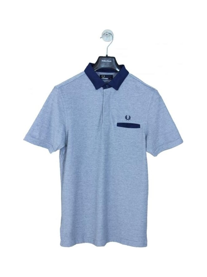 Fred Perry Oxford Trim Collar Pique Polo - Dark Carbon