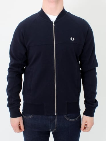 Panelled Bomber Neck Sweat - Navy