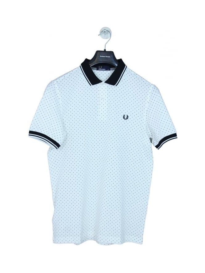 Fred Perry Printed Polka Dot Polo - Snow White