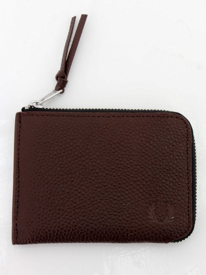 Fred Perry Scotch Grain Zip Around Wallet - Dark Brown