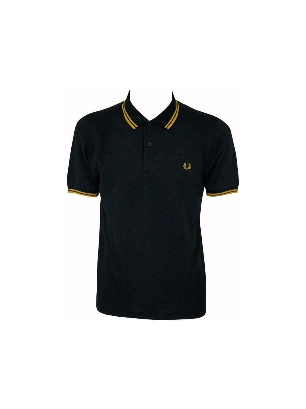 0da91ed73 Fred Perry Slim Fit Twin Tipped Polo in Black/Yellow - Shop Fred ...