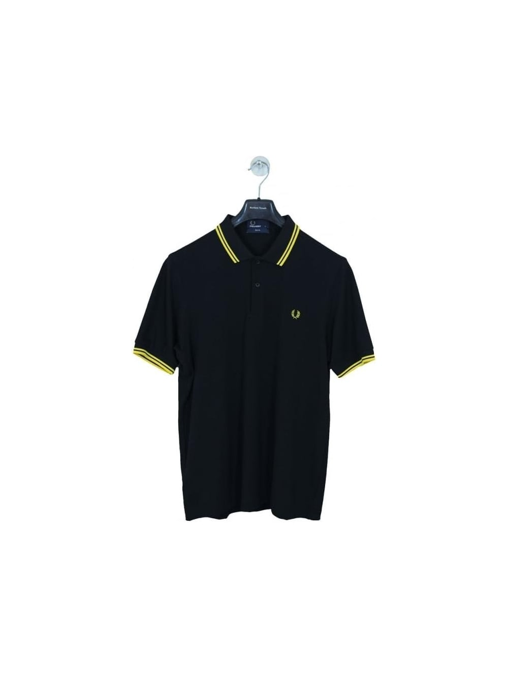 45dcba02346c Fred Perry Slim Fit Twin Tipped Polo in Black Yellow - Northern Threads