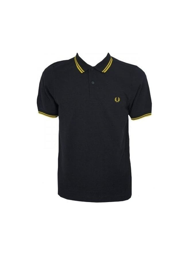 7b6b3dc54c0d Fred Perry - Fred Perry Slim Fit Twin Tipped Polo - Black Yellow ...