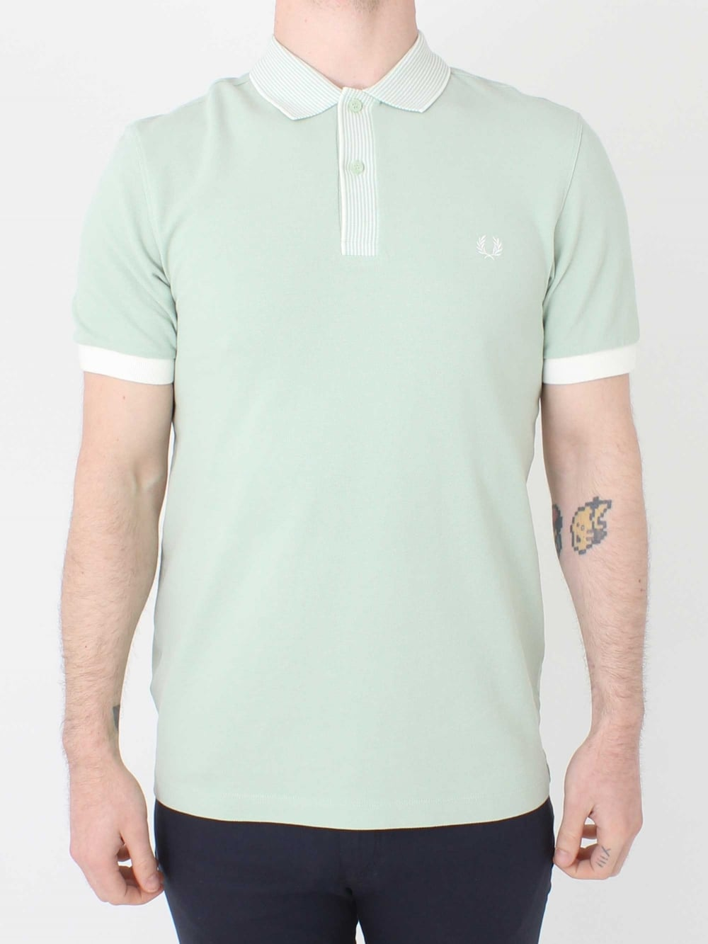 2d6c006b50 Fred Perry Stripe Collar Pique Shirt in Mint