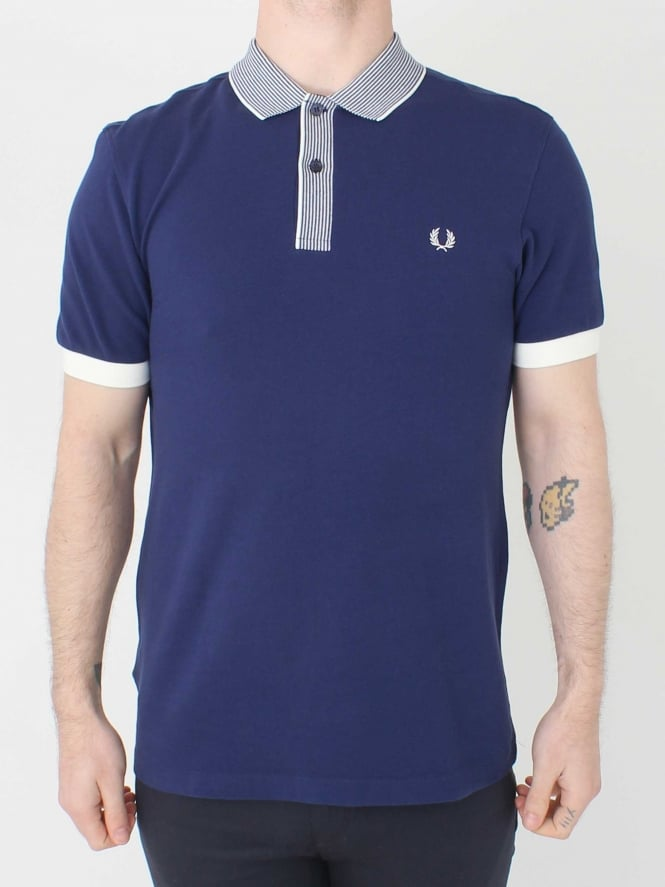Fred Perry Stripe Collar Pique Shirt - Rich Navy