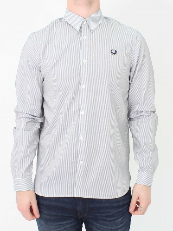 Fred Perry Stripe Shirt in White | Northern Threads