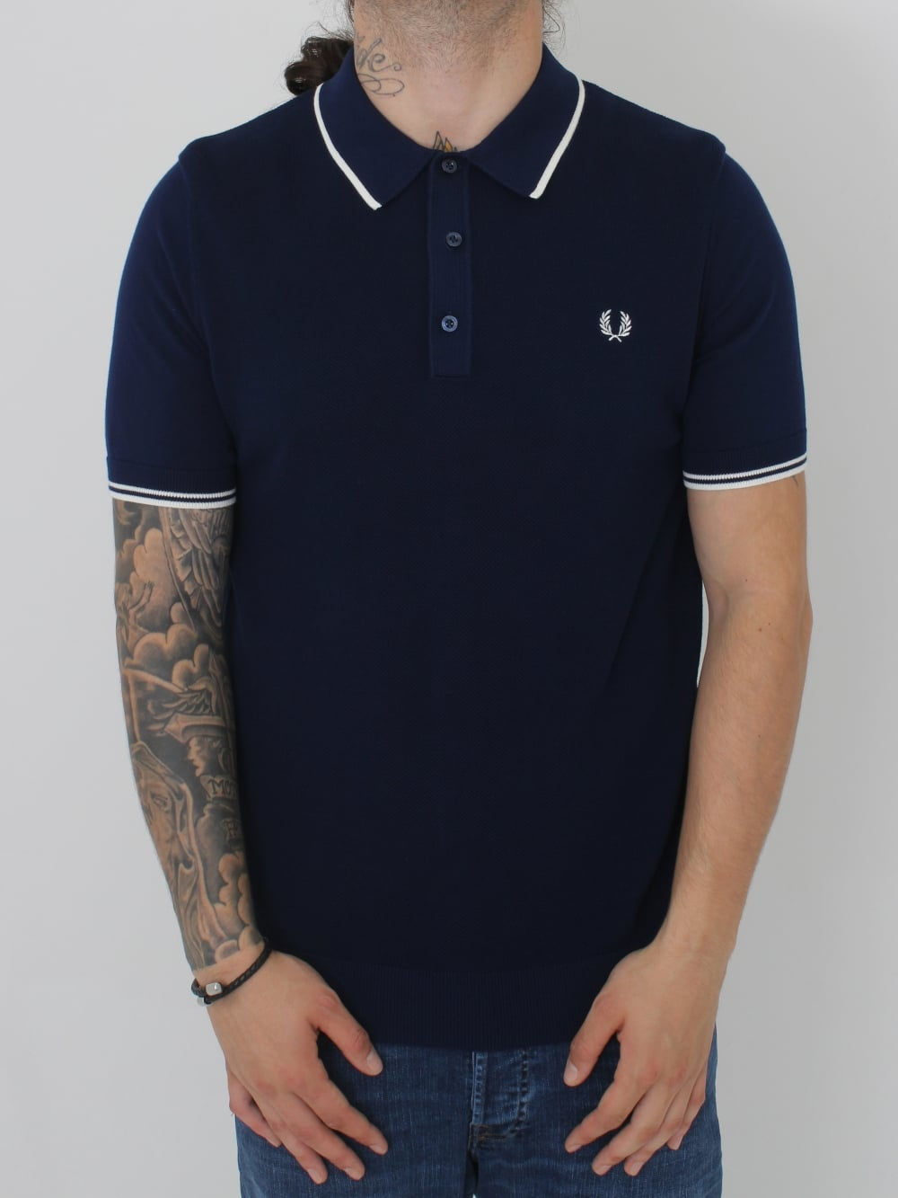 e6494b19b185 Fred Perry Tipped Knitted Polo in Rich Navy - Northern Threads
