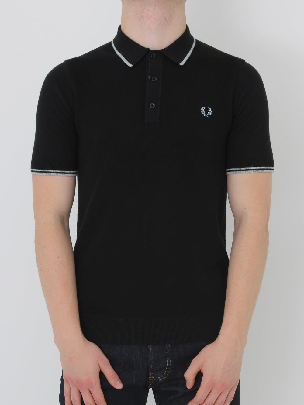 neue niedrigere Preise Entdecken Super Qualität Tipped Knitted Polo Shirt - Black