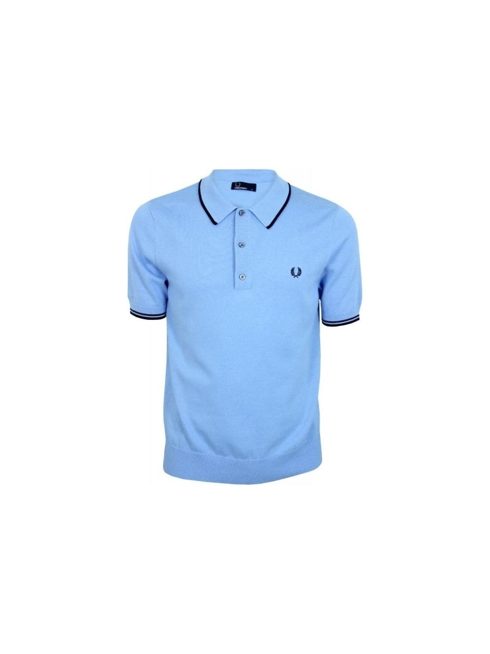 12f7f801 Fred Perry Knitted Polo in Sky Blue - Northern Threads