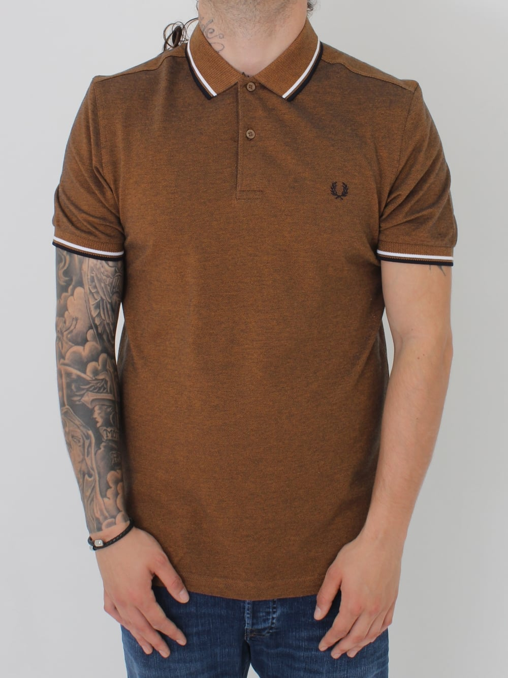 d5cd8d47 Fred Perry Twin Tipped CLassic Polo in Amber Carbon - Northern Threads