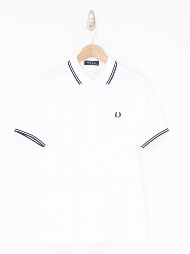 Fred Perry Twin Tipped Logo Polo - White/Blue