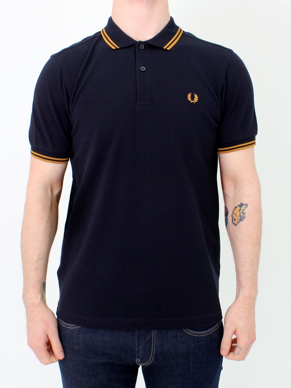 7a30354d Fred Perry Twin Tipped Polo in Navy/Amber | Northern Threads