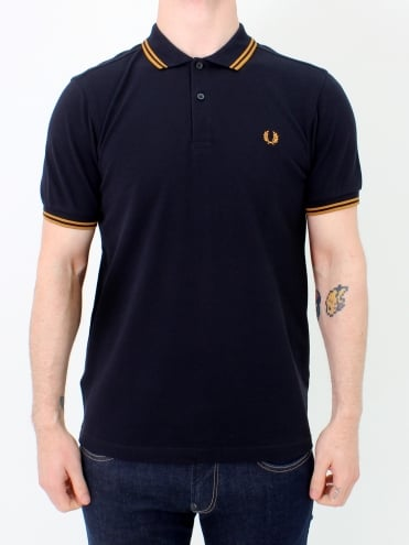 Twin Tipped Polo - Navy/Amber
