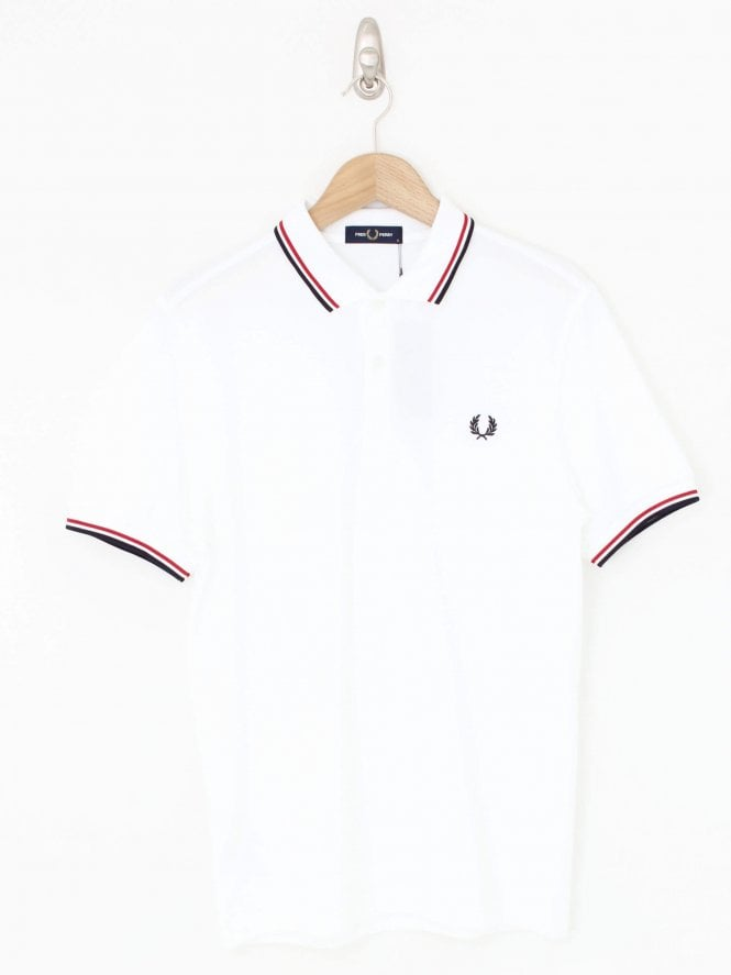 Fred Perry Twin Tipped Polo - Wht/Red/Nvy