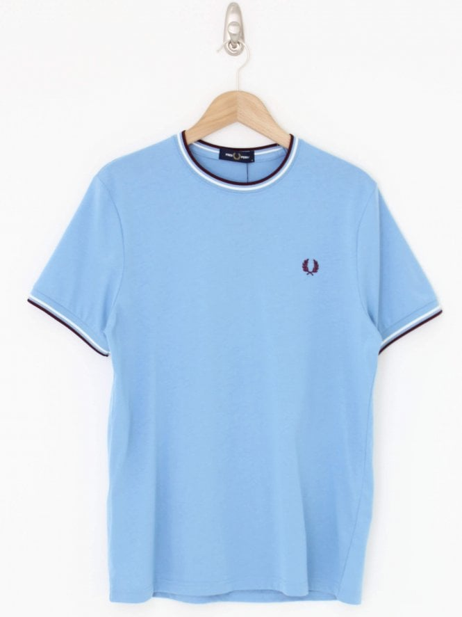 Fred Perry Twin Tipped Tee - Sky