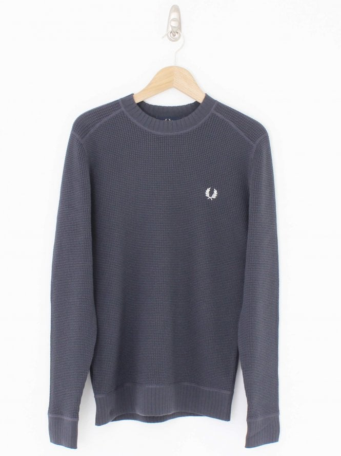 Fred Perry Waffle Textured Crew Neck Knit - Charcoal