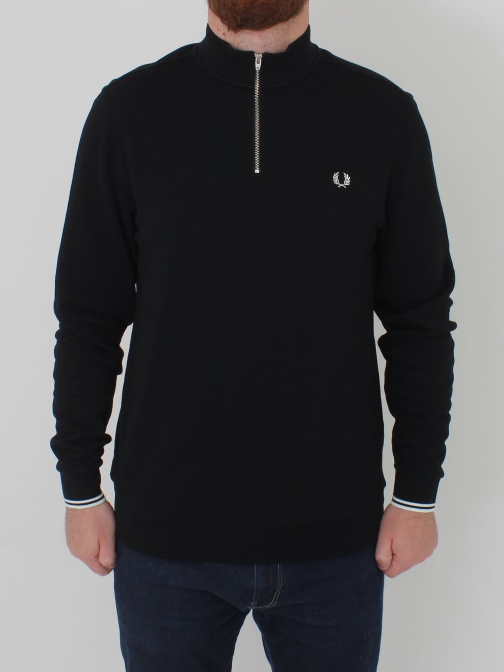 c11bb70f4 Fred Perry Zip Neck Pique Polo in Black - Northern Threads