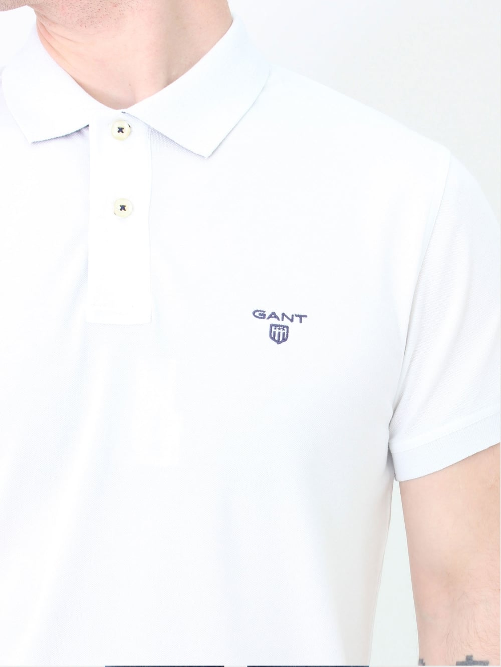 0f5e4637f27c GANT Contrast Collar Rugger Polo in White | Northern Threads