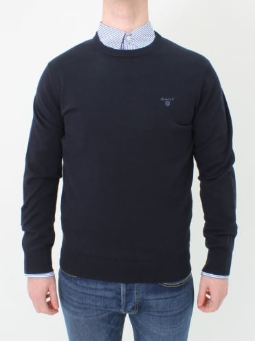 Cotton Crew Neck Knit - Navy