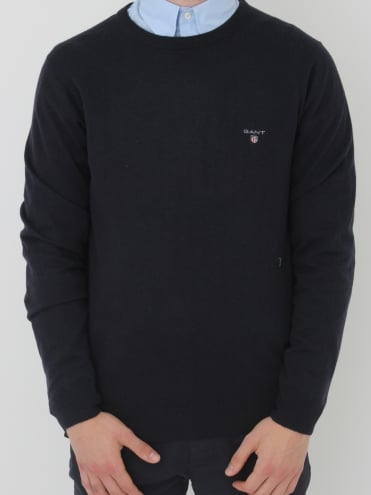 Cotton Will Logo Crew Neck Knit - Navy