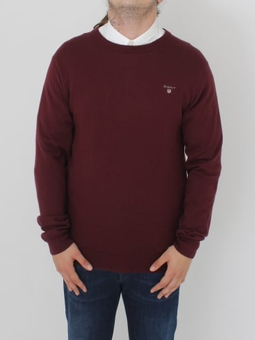 Cotton Wool Logo Crew Knit - Burgandy