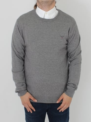 Cotton Wool Logo Crew Knit - Grey Marle