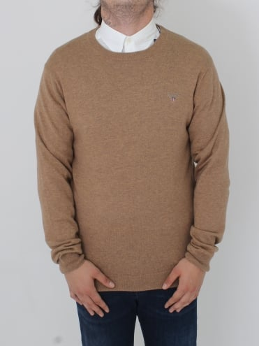 Cotton Wool Logo Crew Knit - Sand Melange