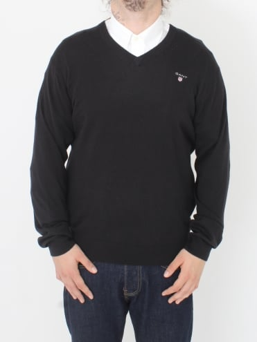 Cotton Wool Logo Vee Neck Knit - Black