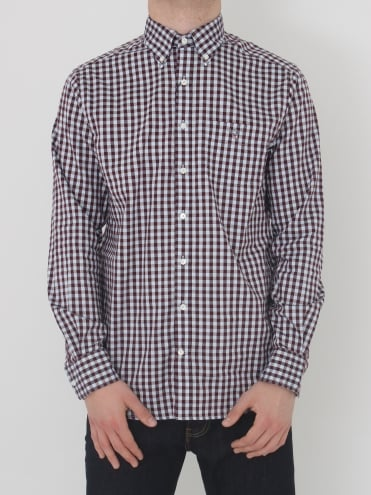 Heather Oxford Gingham Shirt - Purple Wine