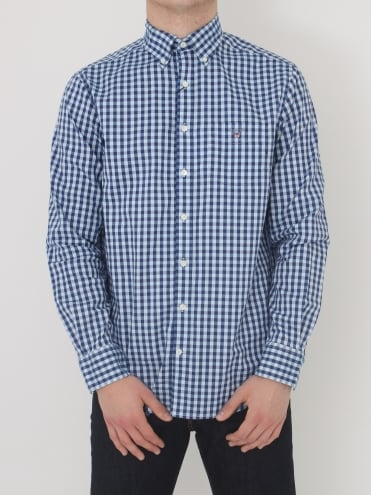 Heather Oxford Gingham Shirt - Yale Blue
