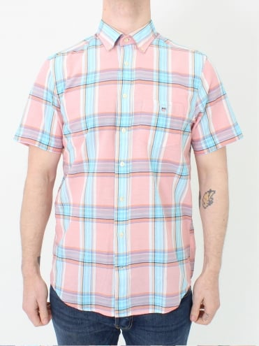 Indian Madras S/S Shirt - Strawberry