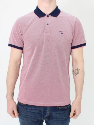 Oxford Pique Rubber Polo - Rose Red