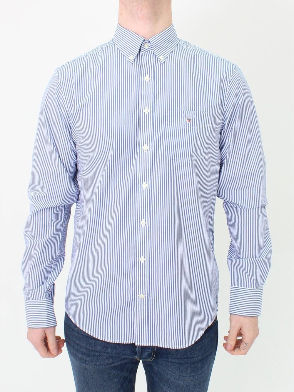 3bb2c970e5 ... striped shirt men gant usa; gant the broadcloth banker shirt in yale  blue northern threads ...