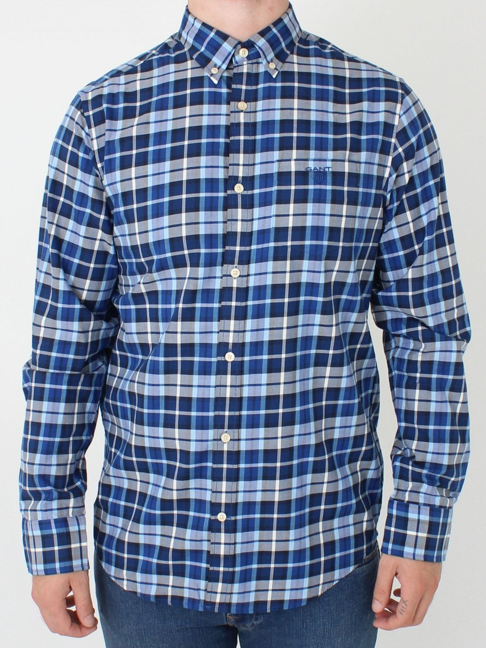 1a5520df44b GANT Winter Twill Plaid Shirt in College Blue | Northern Threads