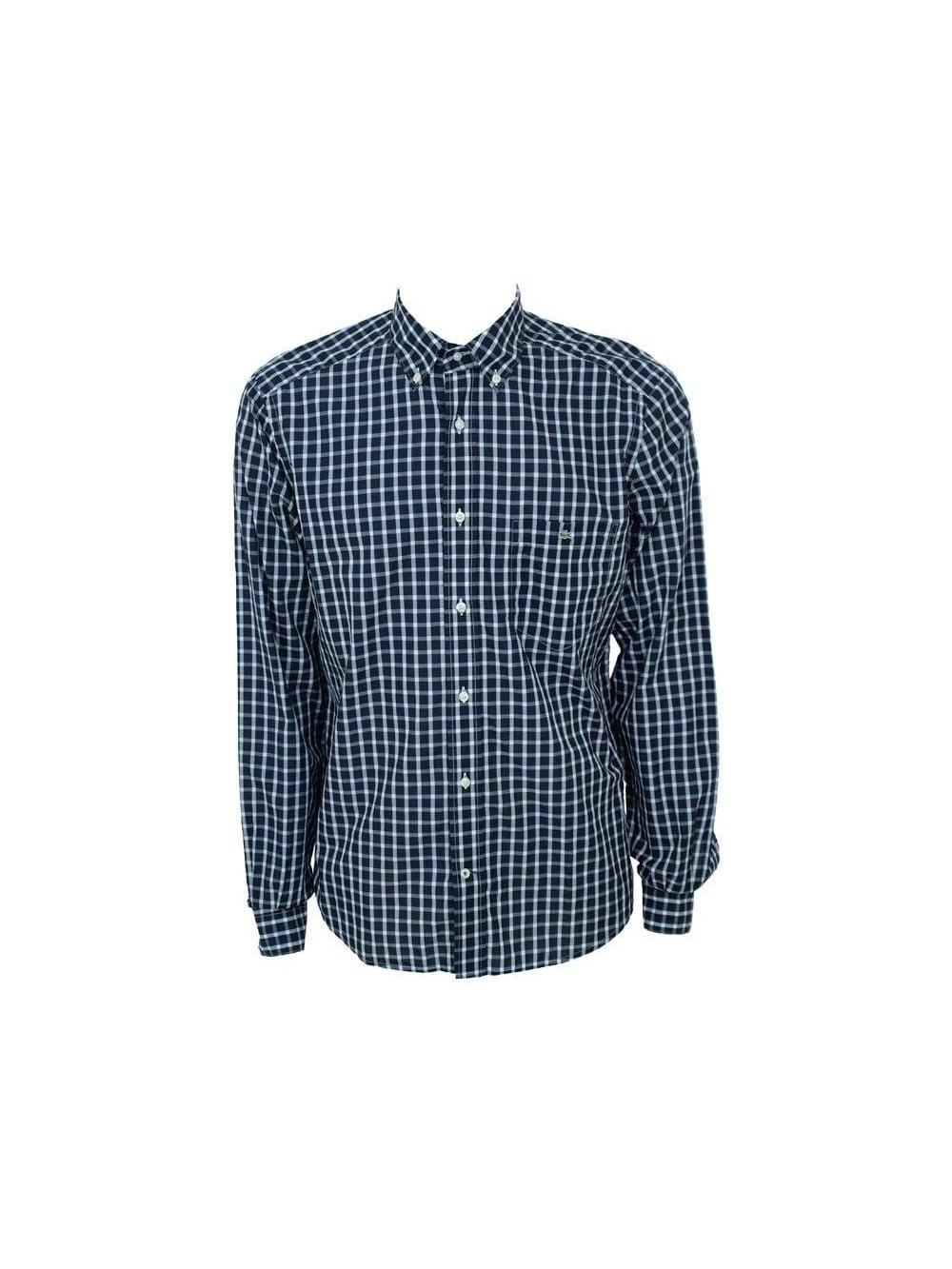 a6f73ffd18a3e Lacoste - Lacoste Gap Check Shirt - Dark Navy - Mens Designer Shirts ...