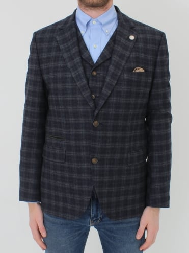Multi Check S/B Jacket - Blue/Grey