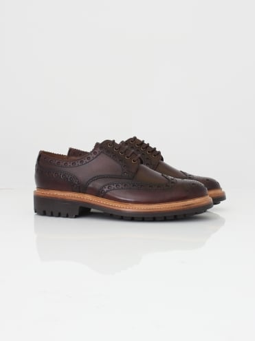 Archie Handpainted Brogue - Dark Brown